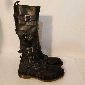 Dr. Martens Phina Tall Strap Buckle Biker Boots